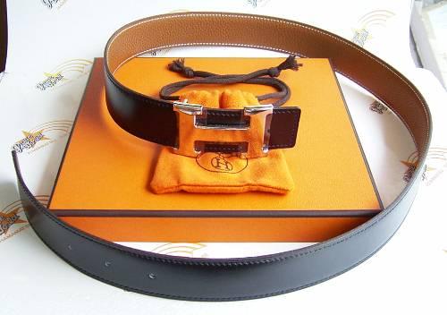 エルメス Hベルト シルバーバックル 黒(BOX)/ゴールド(TOGO) 80cm