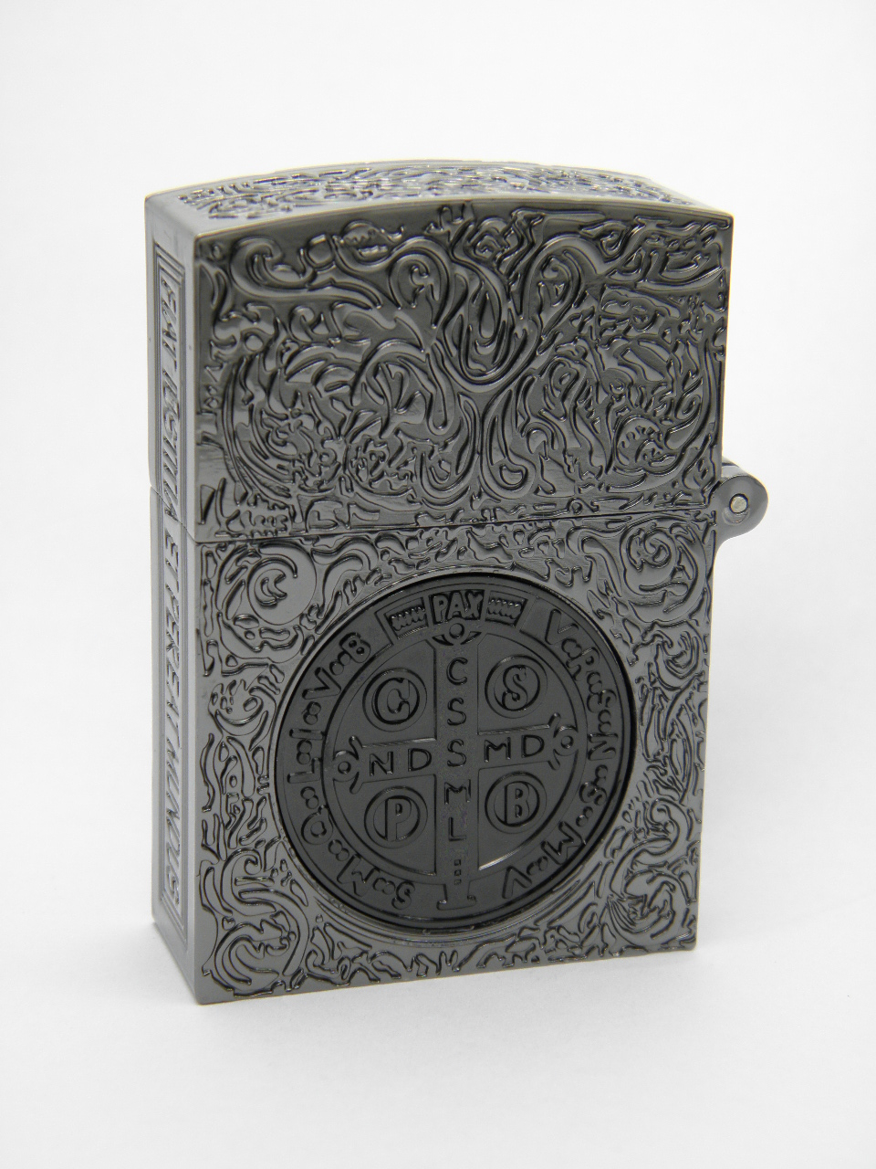 コンスタンティン Zippo スモール クロームメッキ、6面彫、ブラックコイン