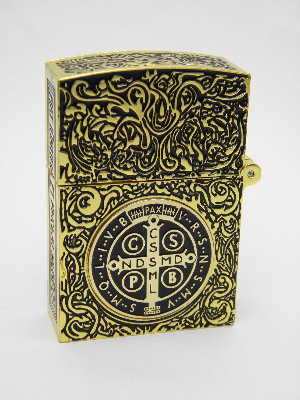 コンスタンティン Zippo スモール 金メッキ、6面彫、コインも金メッキ