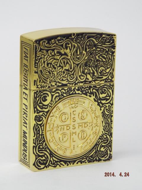 コンスタンティン Zippo ライター ムービーサイズ 金メッキ、金メッキクロスコイン
