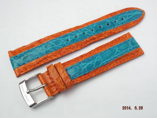 リトモラティーノ 替えベルト 20mm幅 バイカラー(オレンジ/水色)、革