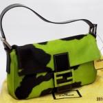 フェンディ バケット ハラコ、黄緑/黒