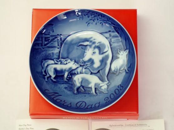 ビングオーグレンダール マザーズデイプレート 2003年 豚の親子の画像